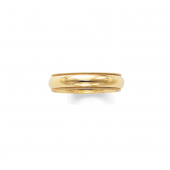 14k Yellow Gold 5mm Milgrain Comfort Fit Wedding Band