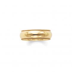 18k Yellow Gold 6mm Milgrain Comfort Fit Wedding Band