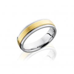 Cobalt and 14k Yellow Gold Wedding Band