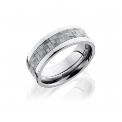 Titanium and Silver Carbon Fiber Wedding Band