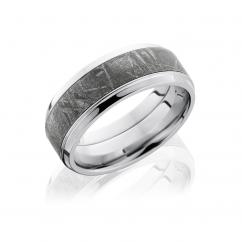 Cobalt and Meteorite Inlay Wedding Band