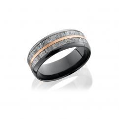 Zirconium and Meteorite 8mm Wedding Band