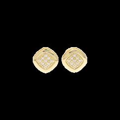 1970's 18k Yellow Gold and Diamond Cushion Stud Earrings