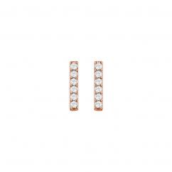14k Rose Gold and Diamond Bar Stud Earrings