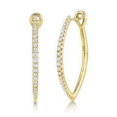 14k Yellow Gold and Diamond Hoops